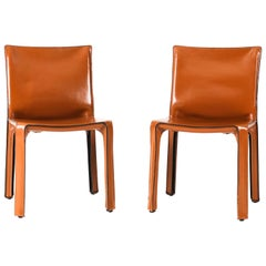 Pair of Leather 412 Cab Chairs by Mario Bellini for Cassina, 21st Century