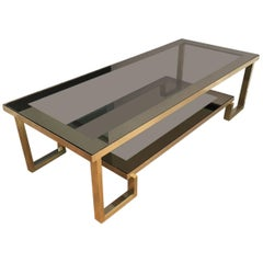 Large Mid-Century Modern Brass and Chrome Coffee Table