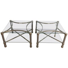 Pair of Double-Tiered Chrome Side Tables