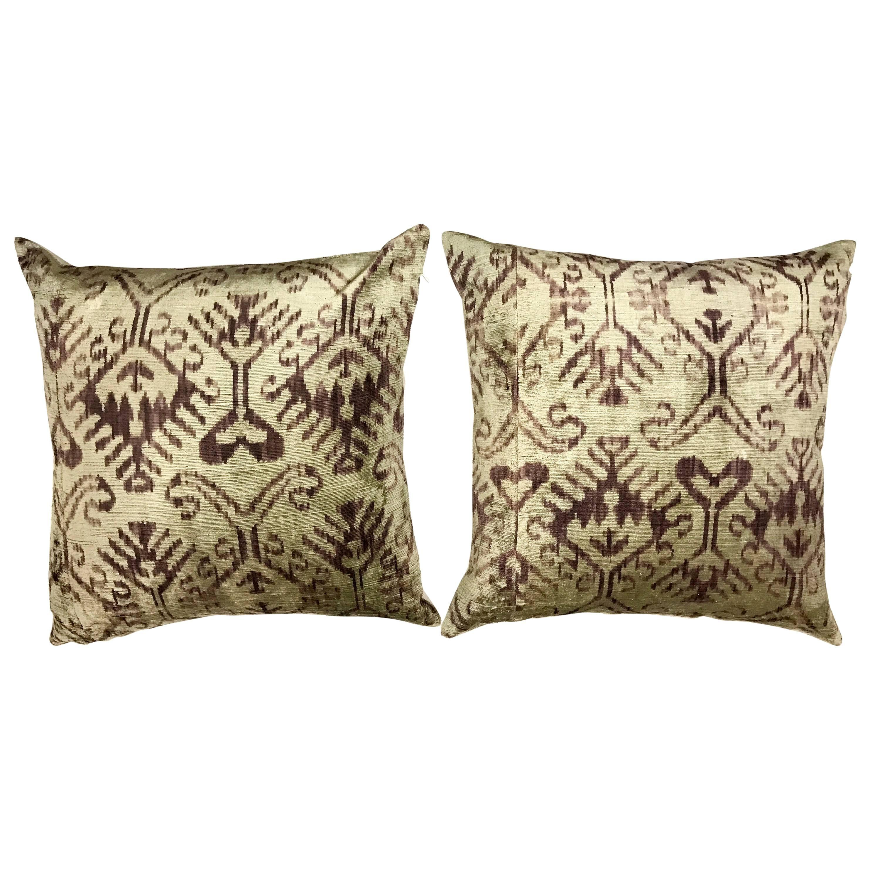 Pair of Purple Silk Ikat Pillows