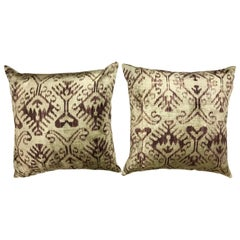 Pair of Purple Silk Ikat Pillows