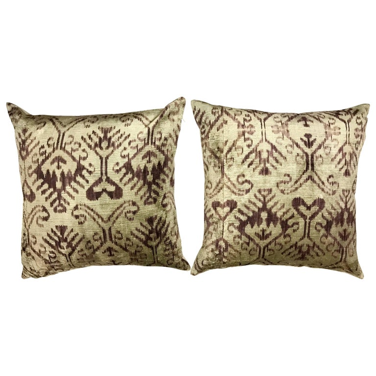 Pair of Purple Silk Ikat Pillows For Sale