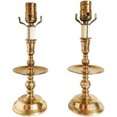Virginia Metalcrafters Brass Candlestick Accent Lamps, Pair