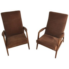 Rare Pair of Reclining Armchairs by Knoll Antimott