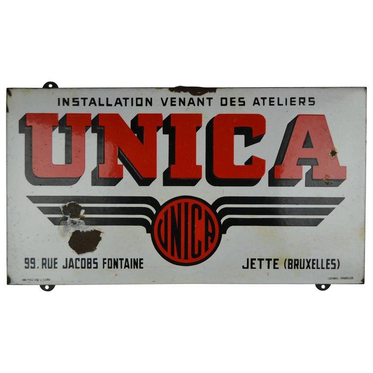1947 Porcelain Sign Unica Brussels