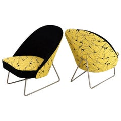 Ultra Rare Yellow and Black Upholstered Artifort 115 by Theo Ruth, 1958