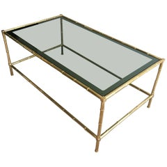 Faux-Bamboo Brass Coffee Table in the Style of Jacques Adnet