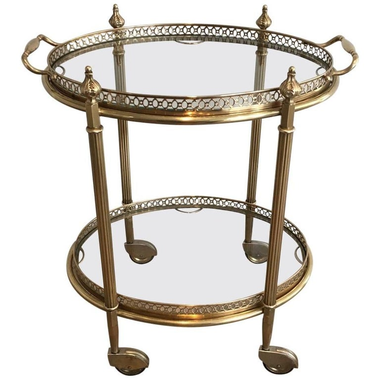 Neoclassical Oval Brass Bar Cart Attributed to Maison Baguès