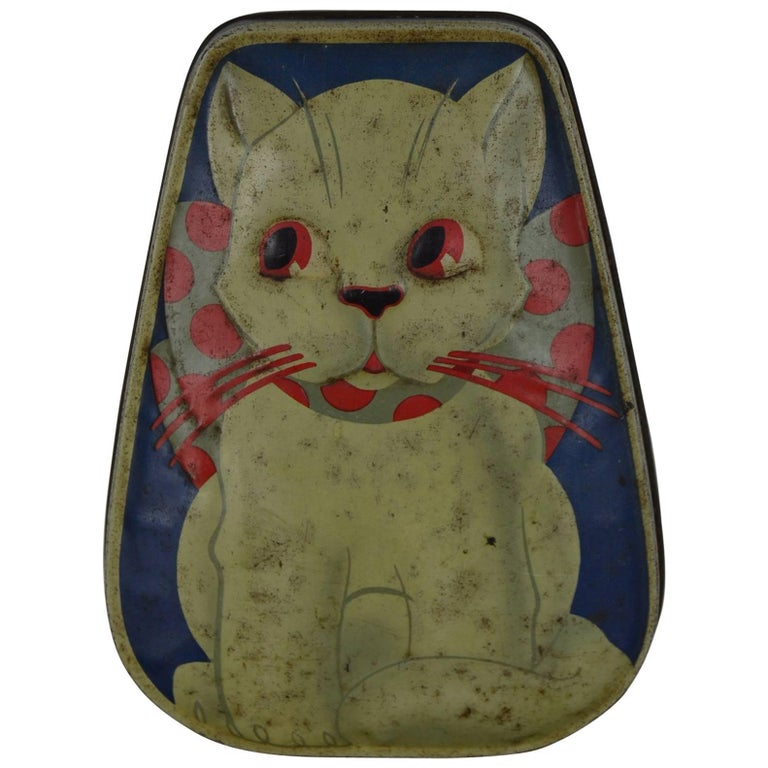 Toffee Tin with Cat, Horner, England, Mid-20th Century