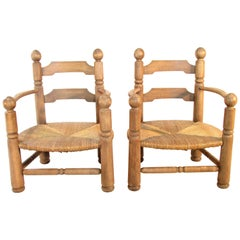 Pair of French Oak Low Fireside Chairs