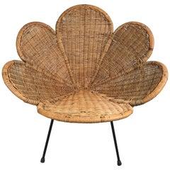 "Mid-Century Modern Wicker and Iron ""Lotus"" Chair, Salterini"