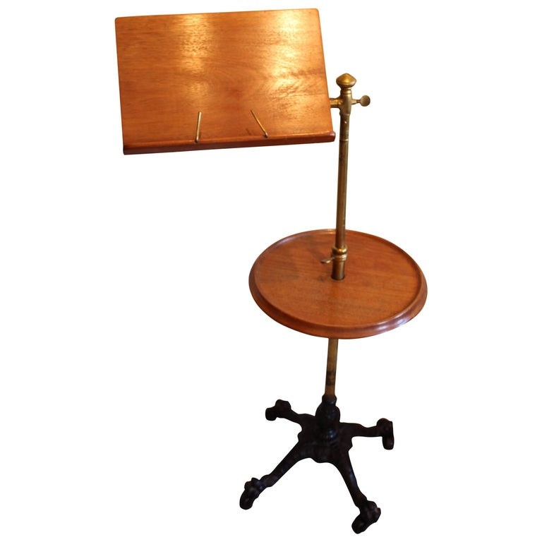 Victorian Mahogany, Brass and Cast Iron Music Stand