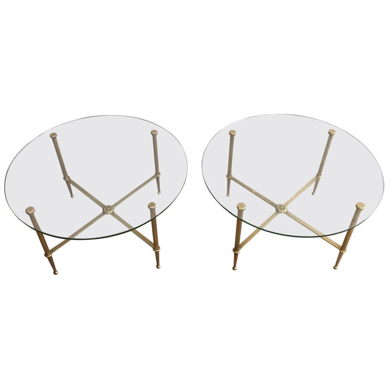 Pair of Round Brass Side Tables with Clear Glass by Maison Jansen