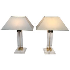 Pair of Lucite and Brass Table Lamps
