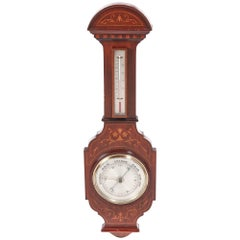 Large Antique Mahogany Inlaid Barometer