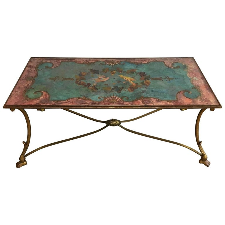 Neoclassical Coffee Table with Gilt Base and Reverse Painted Mirror Top