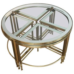 Round Brass Coffee Table with Four Smaller Nesting Tables
