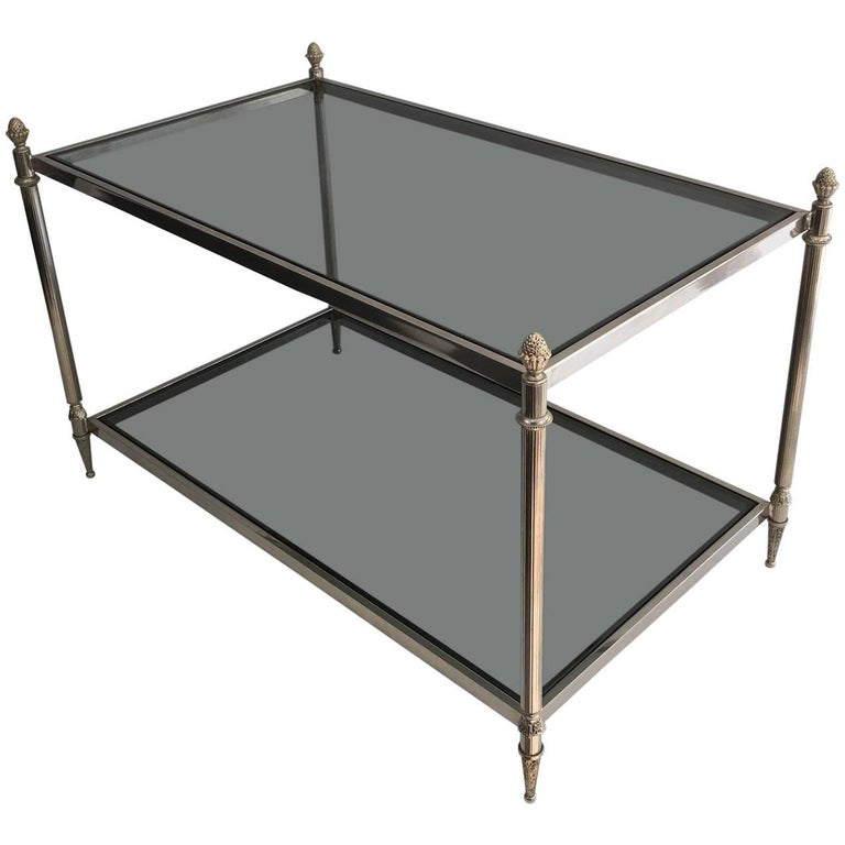 Small Coffee Table with Blue Grey Glass  in the Style of Maison Jansen