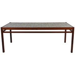 Midcentury Danish Teak Coffee Table with Ceramic Top
