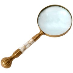 Magnifier Magnifying Glass, Brass Mother-of-Pearl, circa 1900
