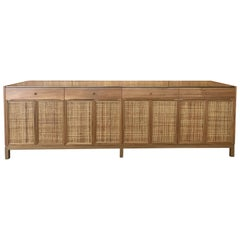 Midcentury Inspired Handcrafted Teak Server with Brass Top and Details
