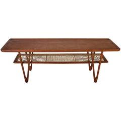 Midcentury Danish Teak and Cane Coffee Table by Kurt Østervig