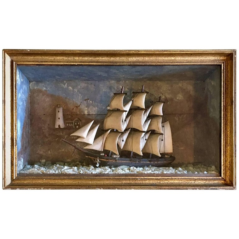 19th Century Carved Wooden Ship Shadowbox with Lighthouse and Cottage