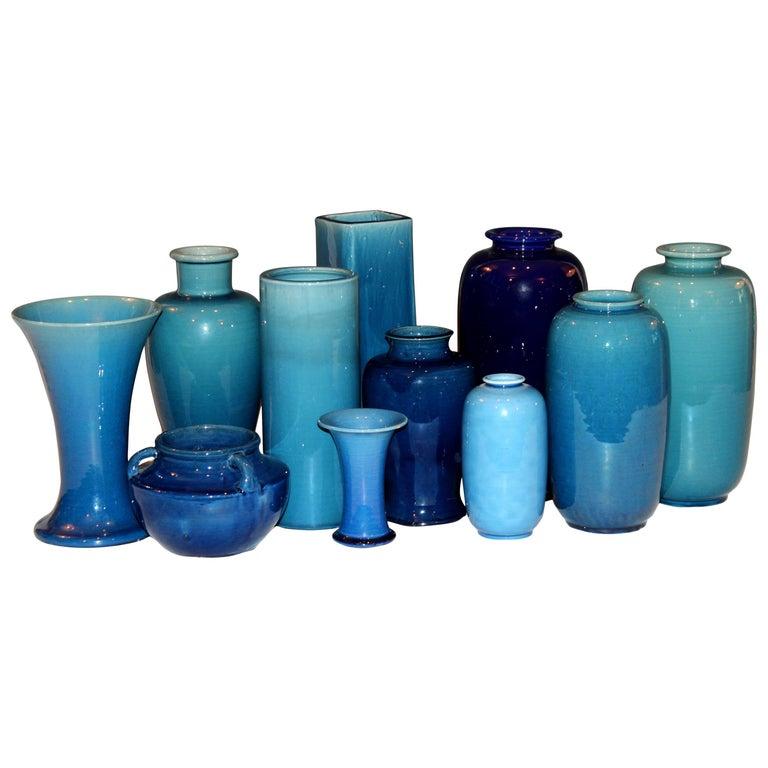 Set of Antique and Vintage Awaji Studio Pottery Vases Jars Shades of Blue