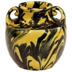 Awaji Pottery Art Deco Studio Japanese Marbled Metallic Yellow and Black Vase