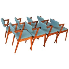 Set of Eight Kai Kristainsen Teak Model 42 Dining Chairs in Blue Wool