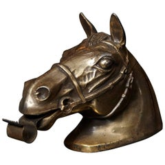 Brass Colored Horse Head Tape Dispenser, 1960s