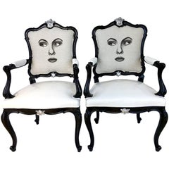 "Pair of 20th Century Louis XVI Style Lacquered ""Two Face"" Armchairs"