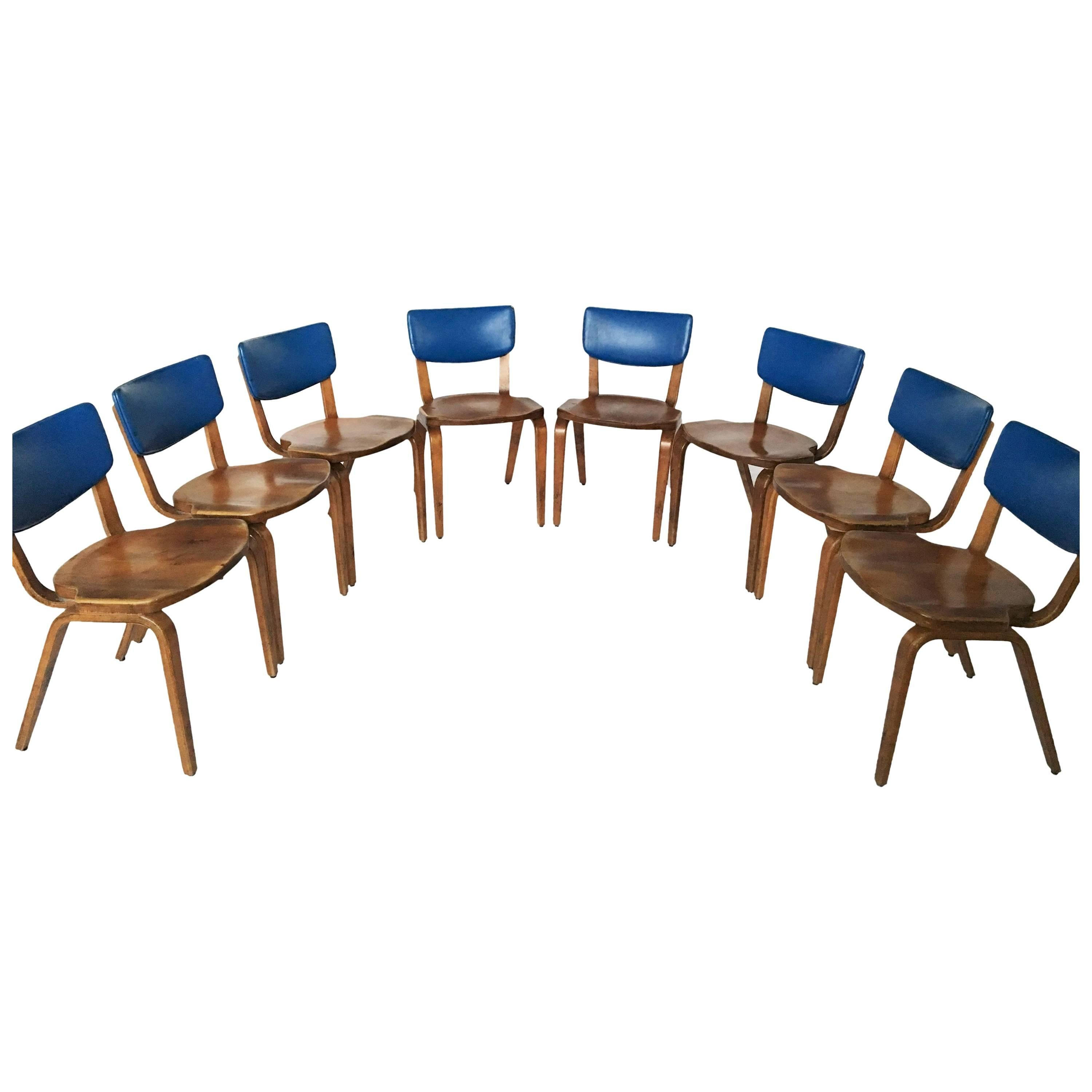 Original 1940 Thonet Bentwood Dining Chairs, Set Of Eight For Sale