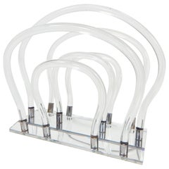 Dorothy Thorpe 1960s Lucite, Chrome and Mirror Magazine Rack