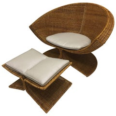 "Rare ""Lotus"" Wicker  Lounge Chair and Ottoman by Miller Yee Fong"