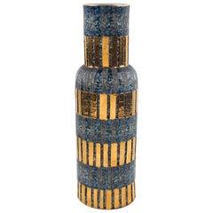Midcentury Bitossi Ceramic Vase Designer Aldo Londi Seta Signed, Italy, 1960s