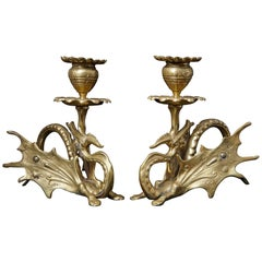 Pair of 19th Century Victorian Winged Dragon Brass Candleholders