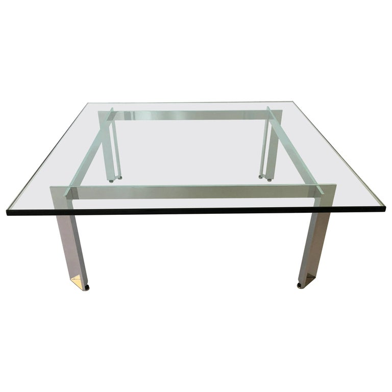 Modernist Square Chrome and Glass Coffee Table