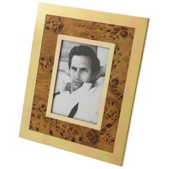 Modernist Aluminum & Wood Picture Photo Frame in the manner of Willy Rizzo