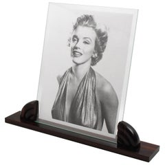 Large Art Deco Picture Photo Frame Macassar Carved Wood, France, circa 1930s