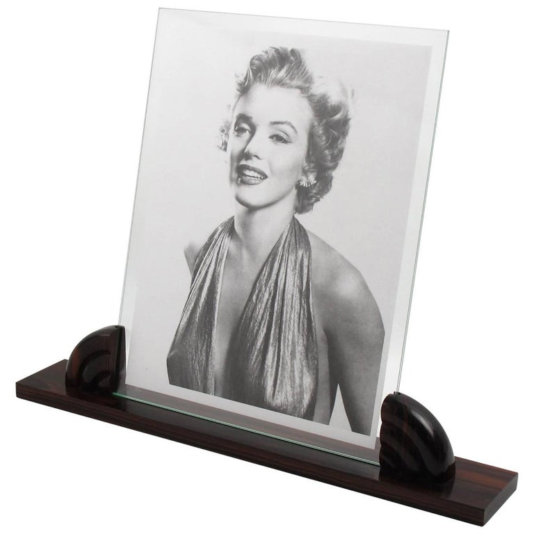 Large French Art Deco Picture Photo Frame Macassar Carved Wood