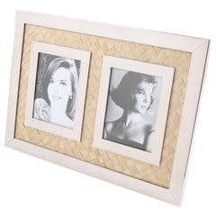 Italian Designer Modernist Chrome and Straw Marquetry Picture Photo Frame
