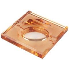 French Art Deco Copper Mirror Glass Cigar Ashtray Desk Tidy by Jean Luce, 1930s