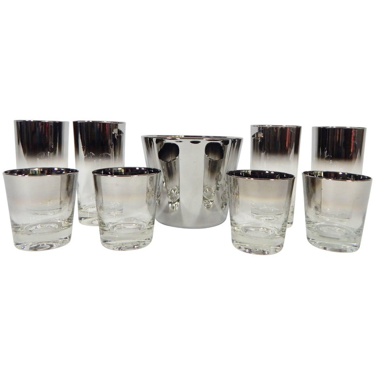 1960s Set of Bar Glassware Attributed to Dorothy Thorpe, Nine Pieces
