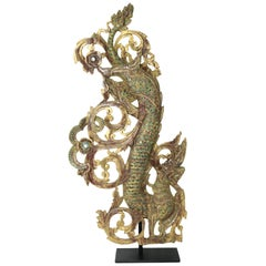 Burmese Gilt Temple Carving of Naga and Scrollwork with Color Glass Inlay