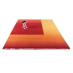 Eclipse Square, Rug and Wall Tapestry Nepal Highland Wool and Cotton Red