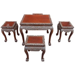 1920-1950 Play Table Mahjong China and Its Four Stools Palissandre