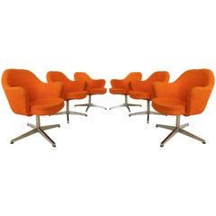 Set of Six Classic Orange Knoll Eero Saarinen Executive Armchairs in Knoll