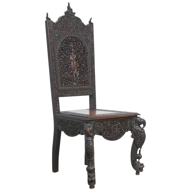 Extraordinary Anglo-Indian Carved Chair For Sale
