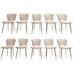 10 Dining Chairs by Louis Sognot for Arflex, 1959,brass legs,Upholstery Restored
